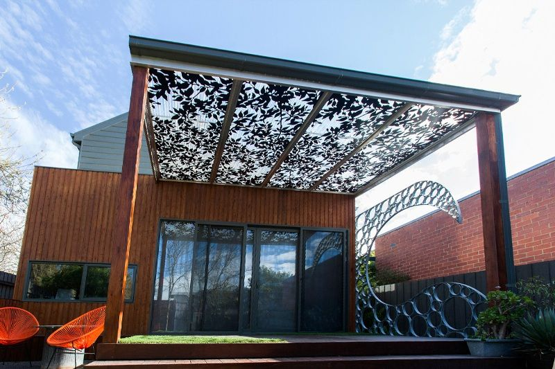 paal grant landscaping featuring galvanised surf bubble wave and banksia nut pergola roof panels