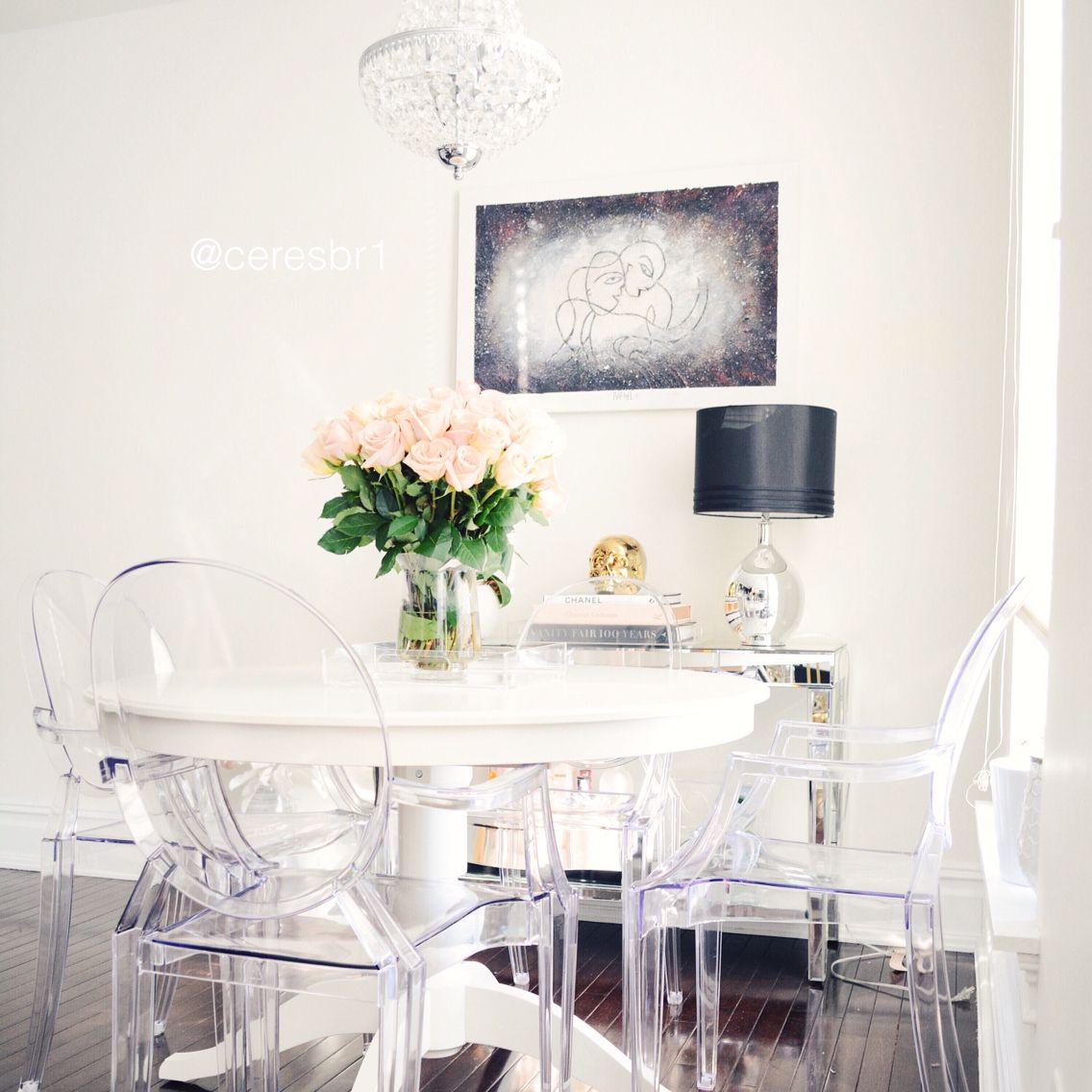 46 Popular Farmhouse Dining Room Design Ideas Trend 2019: Ghost Chairs, Dinning Room, Black And White Decor, Decor