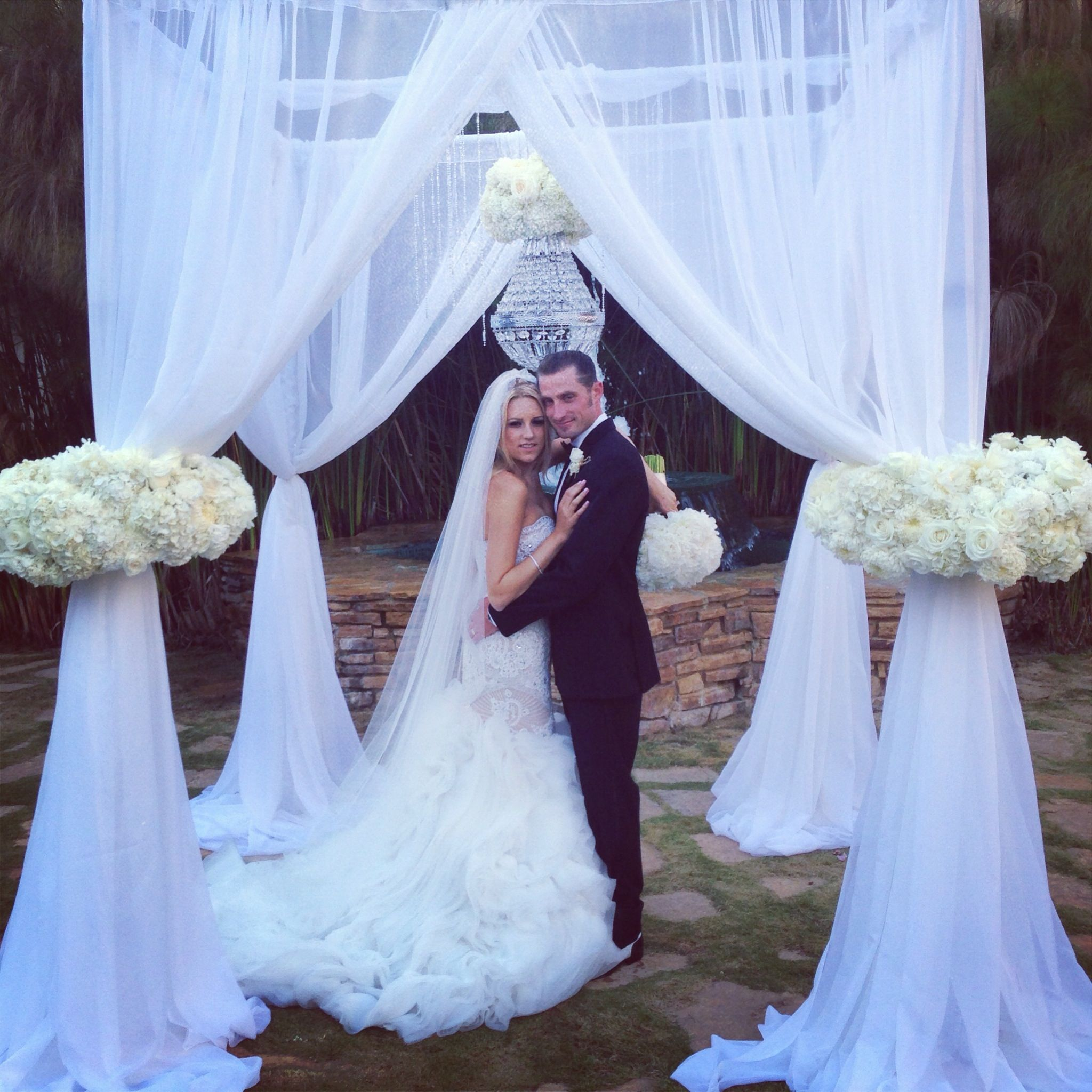 One Of A Kind Designed Wedding Arch Chandelier And Flowers With Sheer Fabric Modern Www