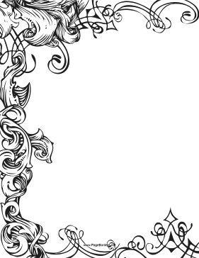 Three-fourths of this printable fancy border is made up of ...