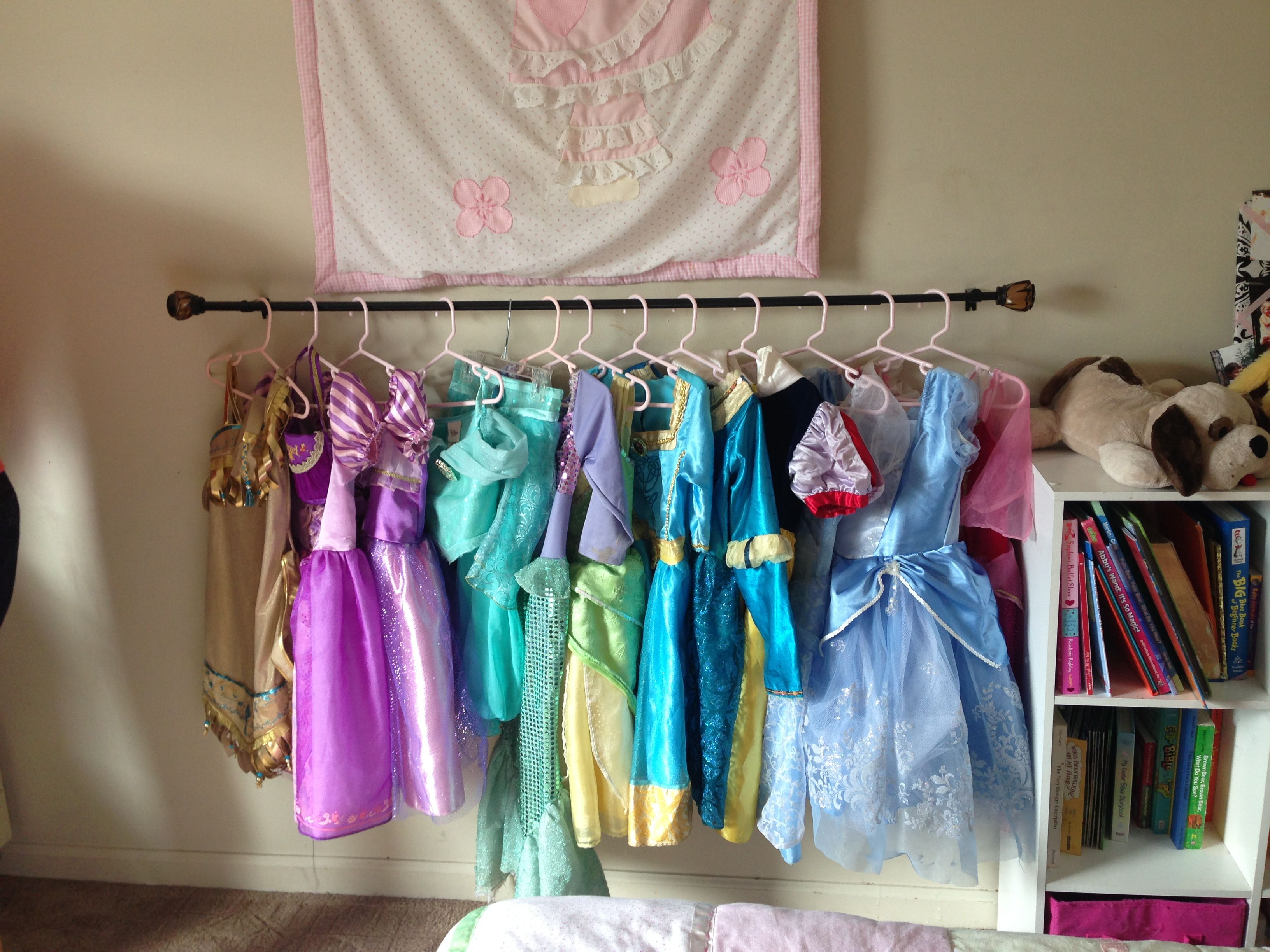 Use A Curtain Rod Mounted To The Wall At Child S Height To Hang Dress Up Clothes On So The Child Has Easy Access