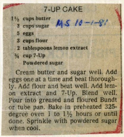 7 Up Cake Historic Recipe Clipping
