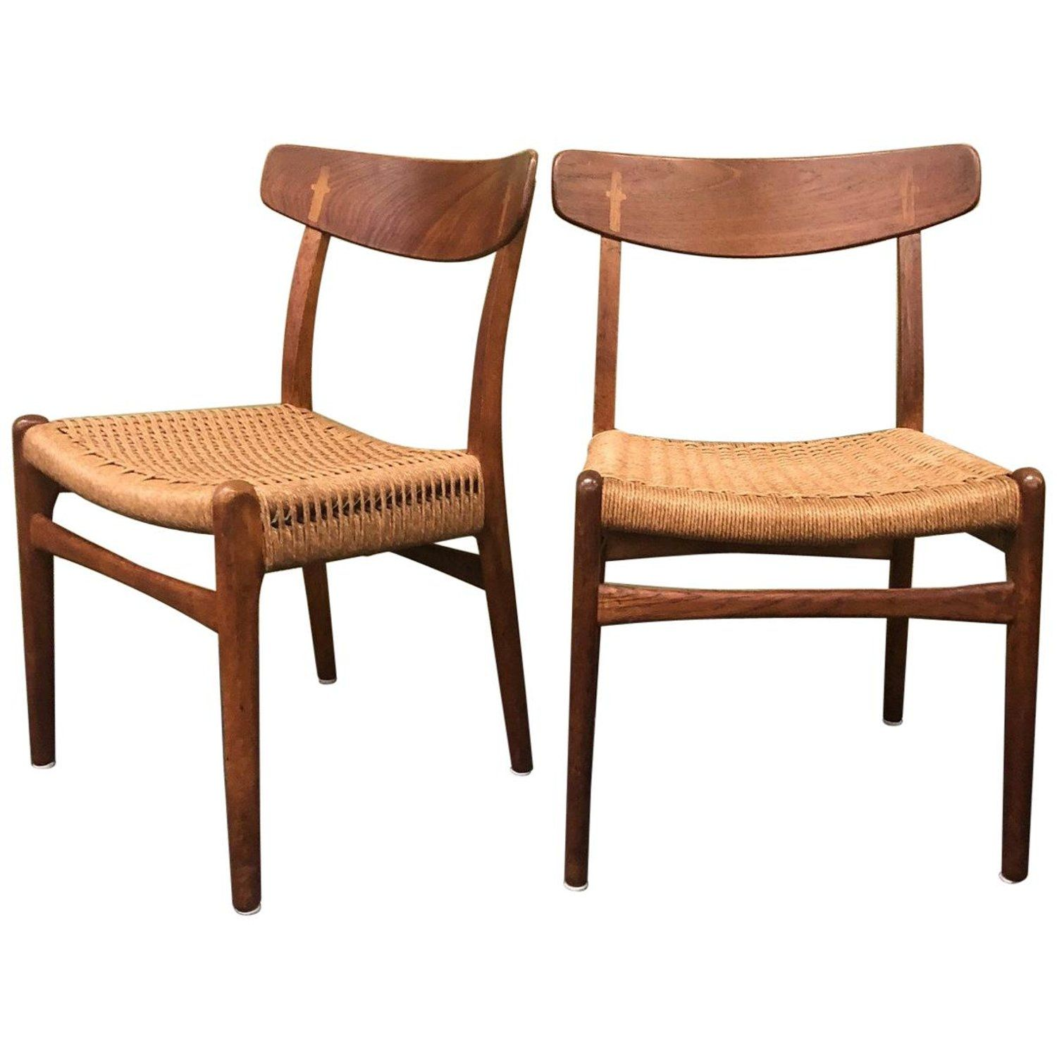 Pair Of Model Ch 23 Dining Chairs With Rope Seats By Hans Wegner