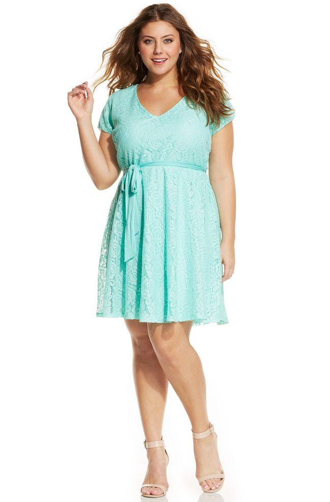 Love Squared Plus Size Short-Sleeve Lace A-Line Dress #plussize ...