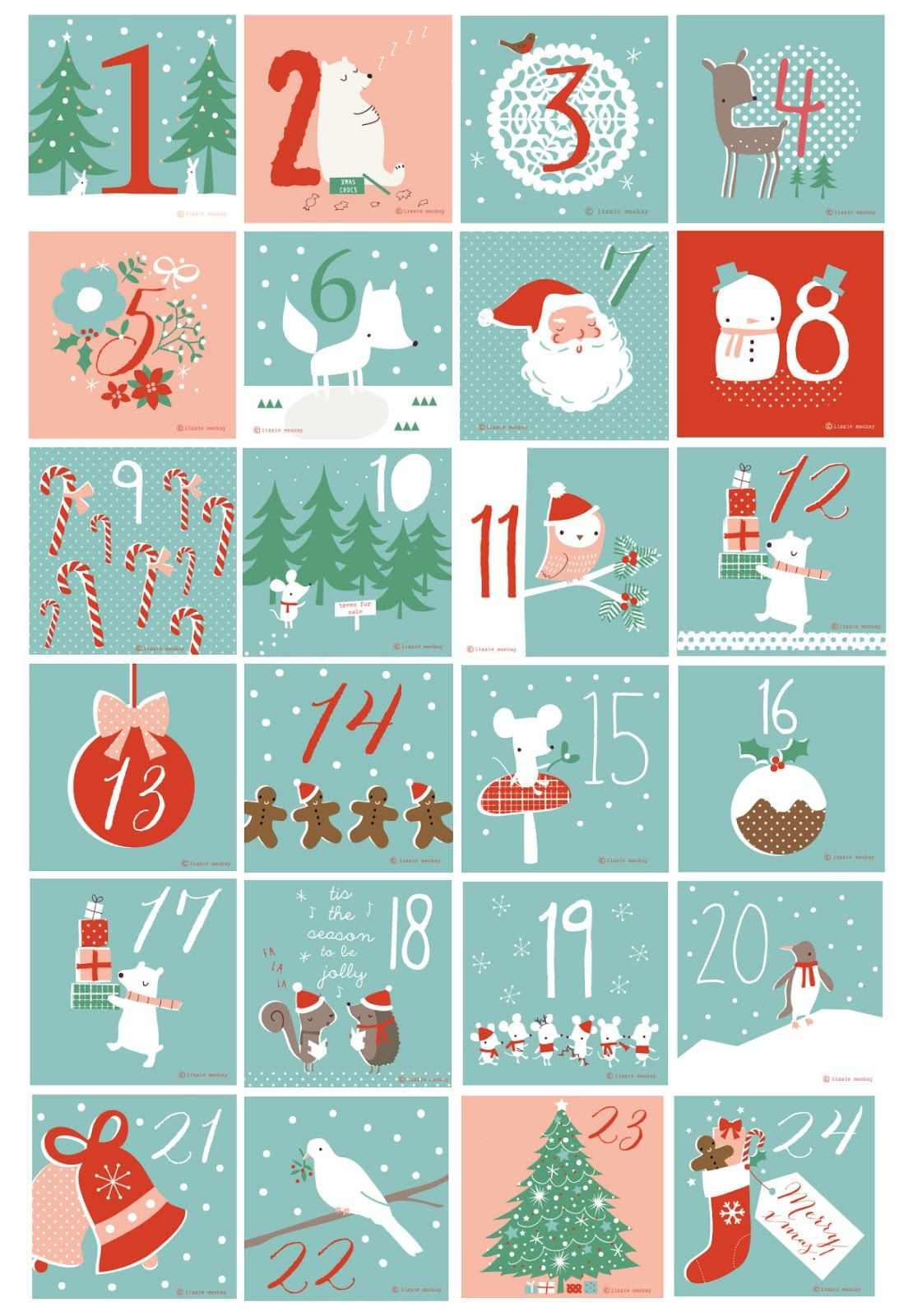 Christmas Calendar Pictures : Free printable numbers used for our beer advent calendar