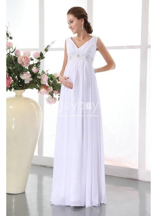 V Neckline White Designer Maternity Wedding Dresses   wedding ...