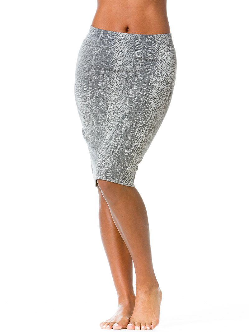 Skinny Knee Skirt with Python Print