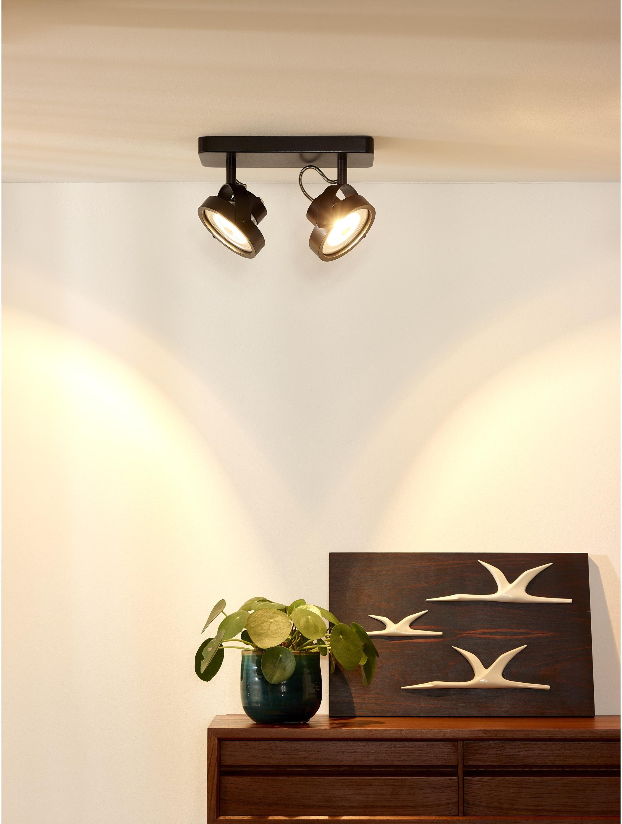Rampe 2 Spots Gx53 Industriel Metal Noir Lucide Tala Applique Plafond Plafond Spot Plafond