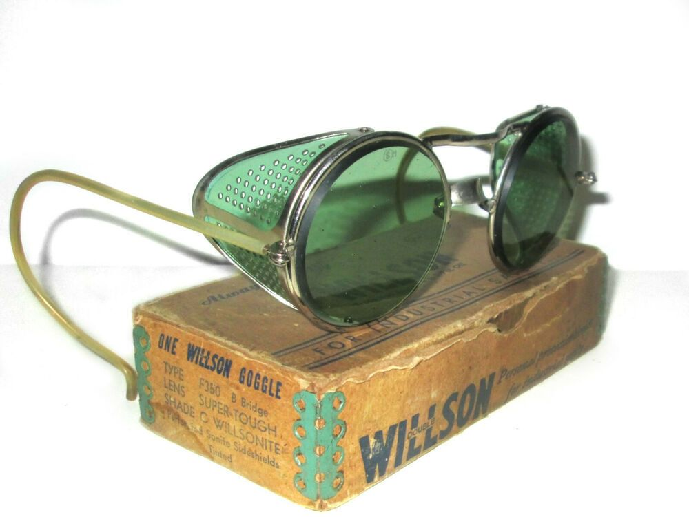 Antique willson green sunglasses goggles vtg cool