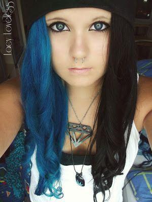 Half Blue Half Black Half Shaved Hair Edgy Hair Split Hair