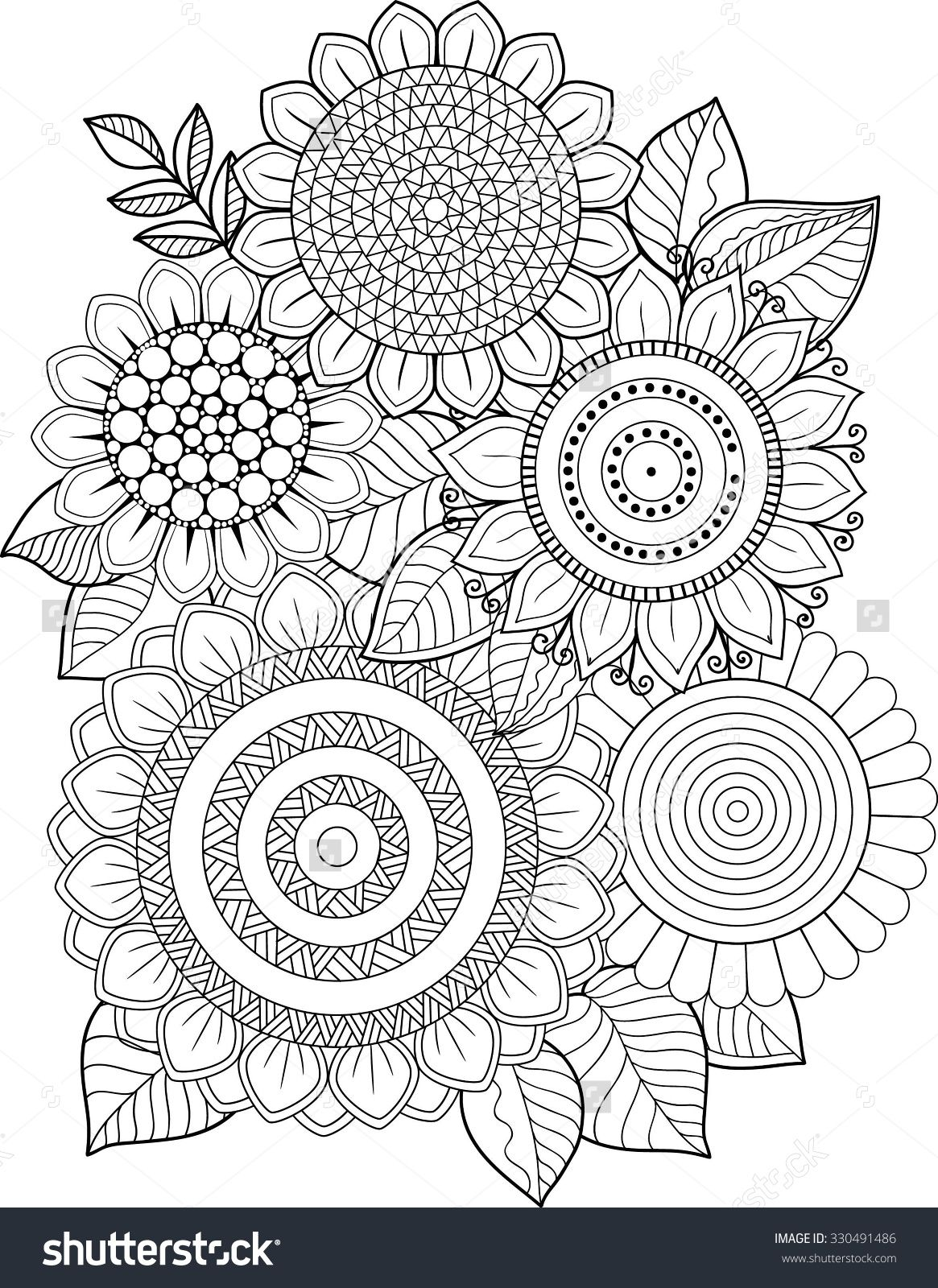 Coloring Book Adults Meditation And Relax T Shirt Graphic Design Print For Summer Clothing Isolated Vector Sunflower Pattern