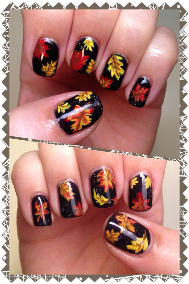 I Did A Fall Leaves Nail Art Design Using Gelish Base And Acrylic Paint For The Hand Painted Simple Sweet