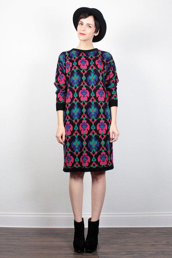 f4eab6801b6 Vintage 80s Sweater Dress 1980s Dress Mini Dress Knit Dress Jumper Dress  Cosby Sweater Dress New Wave Mod Abstract Print M Medium L Large by ...