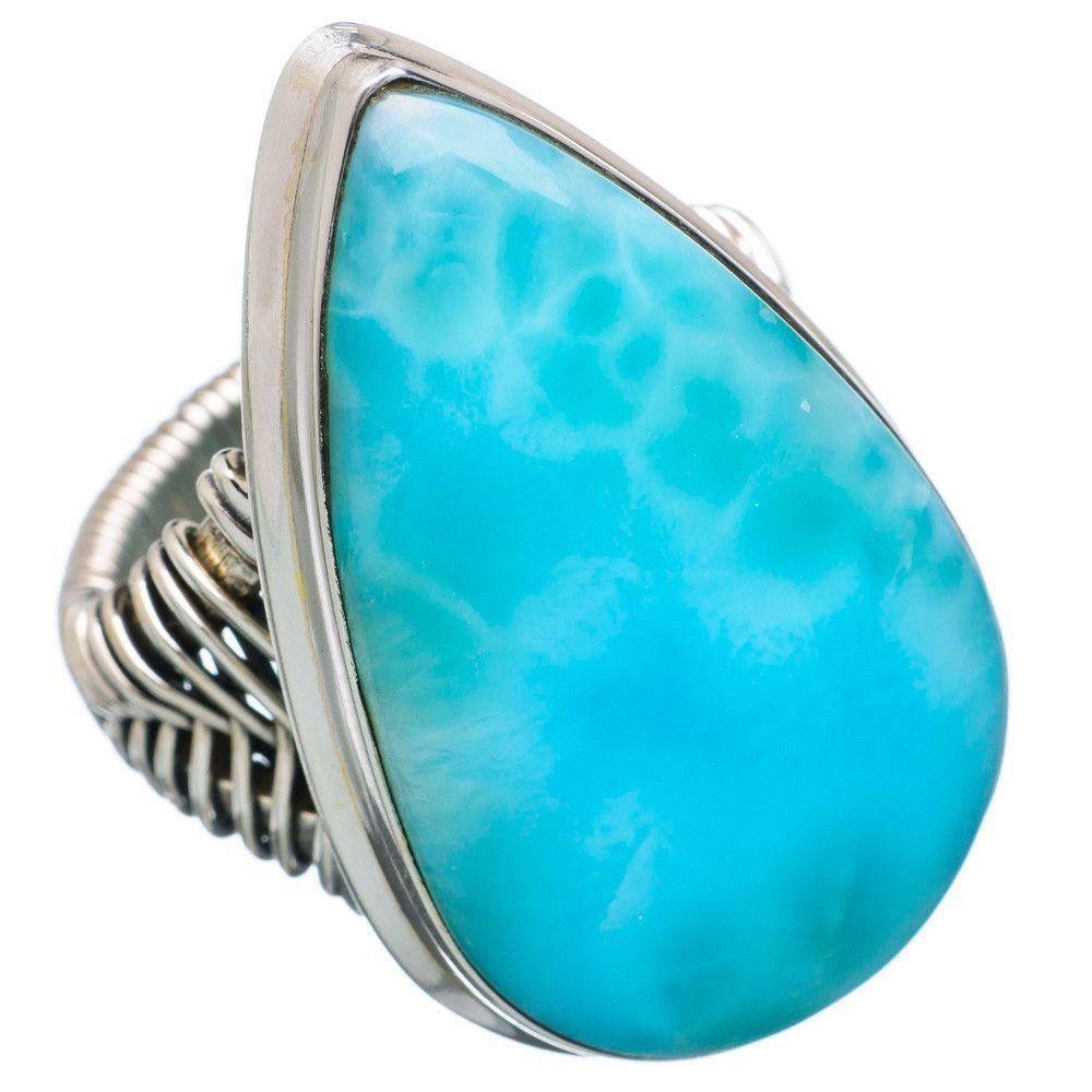 Huge Rare Larimar 925 Sterling Silver Ring Size 7.25 RING723205
