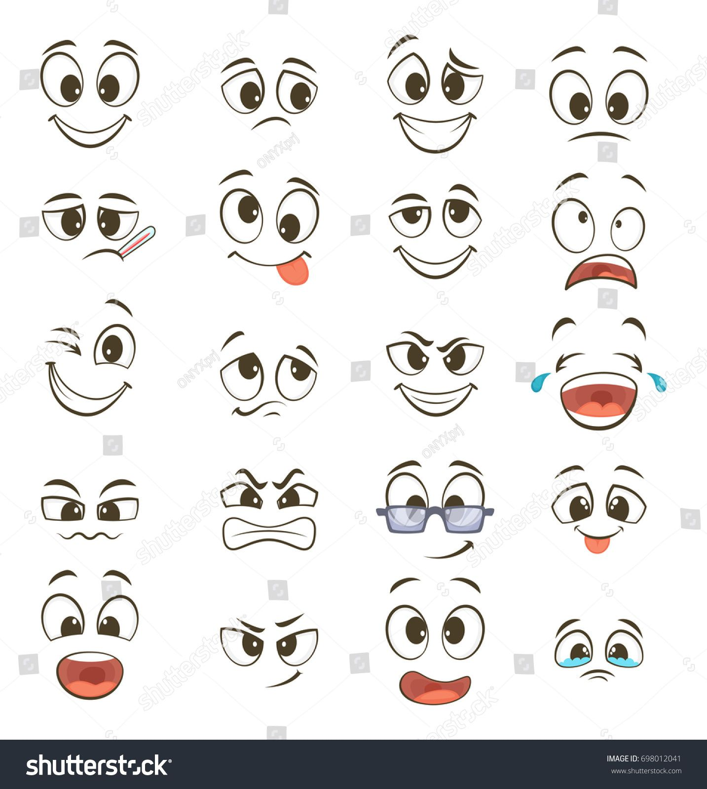 Cartoon Happy Faces With Different Expressions Illustration Happy Face Emotion Funny Character Emoticon Car Dessin Smiley Illustration De Visage Yeux Dessin