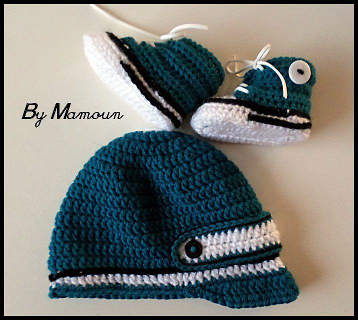Bonnet casquette bébé en laine et ses baskets assorties Bleu Canard et Blanc    Mode Bébé par mamountricote 078ed7b2b0f