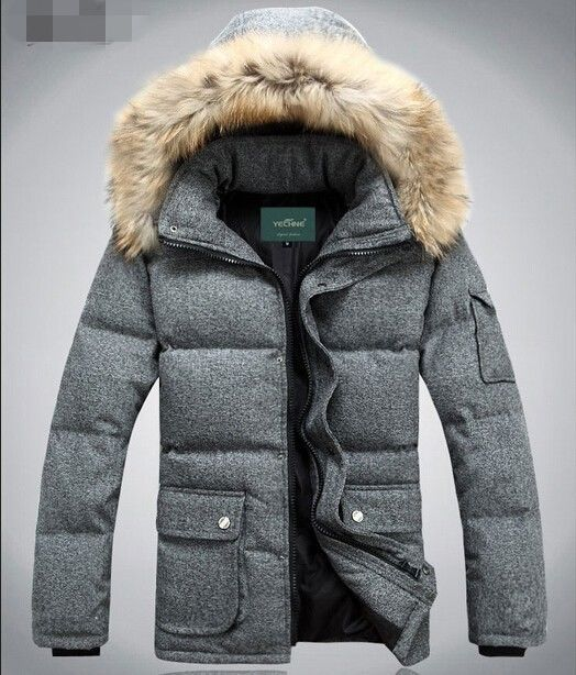 6504bc941e7b New Winter Warm Mens Fur Hooded Duck Down Jacket Coat Outerwear Parka  Clothes  100New  BasicCoat