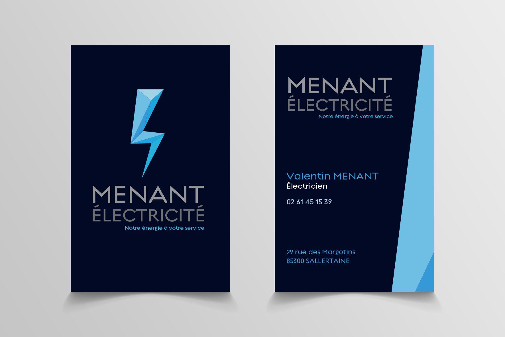 carte de visite electricien Logo et carte de visite   Ménant électricien   Carte de visite