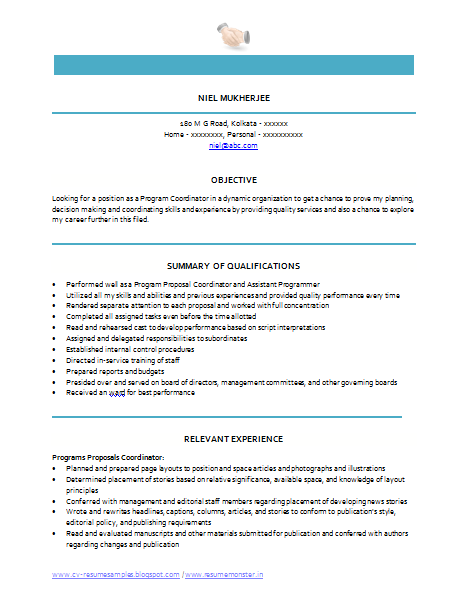 latest program coordinator resume sample in word doc free - Sample Resume Education Program Coordinator