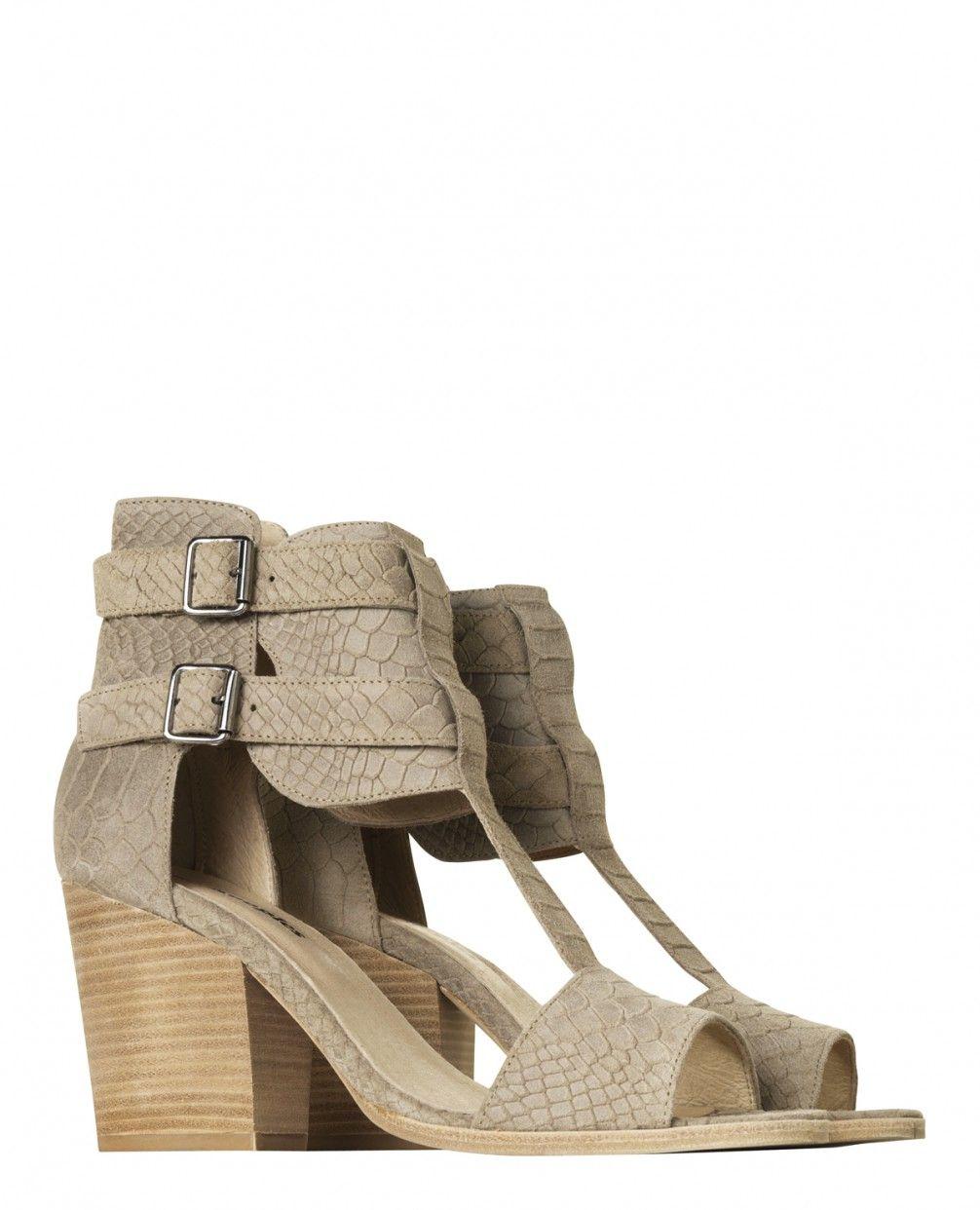 Sandales à talons en cuir façon python - Chaussures - Femme - The Kooples