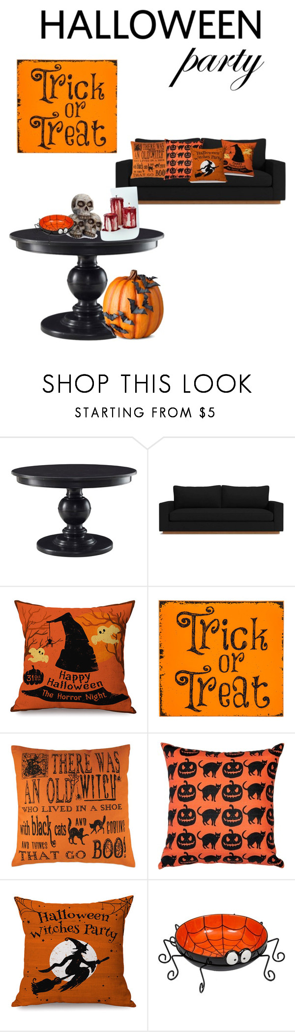 """""""Halloween Party Decor"""" by lynn-osborne ❤ liked on Polyvore featuring interior, interiors, interior design, home, home decor, interior decorating, Pillow Decor, Improvements and Halloweenparty"""