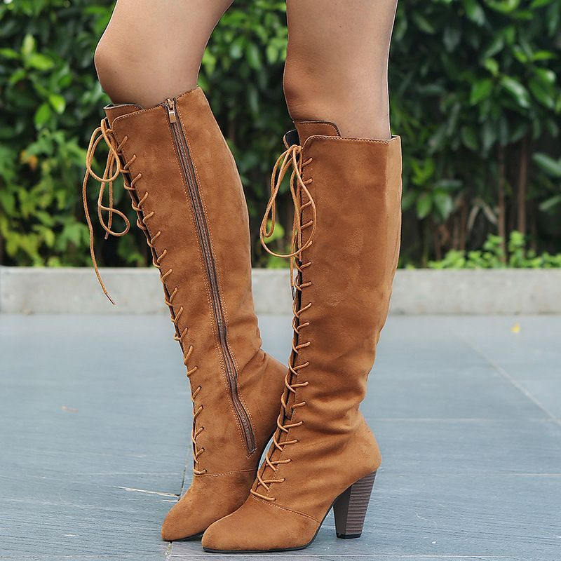 0edb956a484 Shoespie Suede Lace Up Side Zipper Knee High Boots