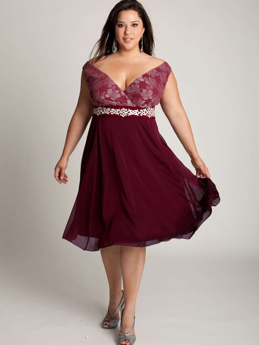 Off-The-Shoulder Knee-Length Plus Size Grape Chiffon and Belt Mother ...