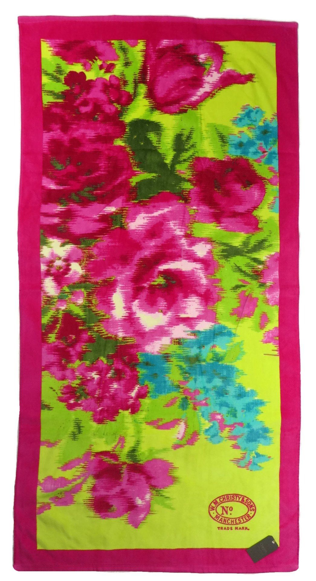 Beach Towel Christy Bloom Chartreuse Pink Green Blue