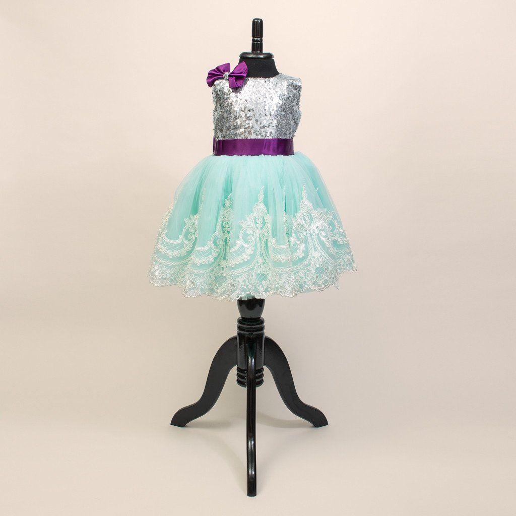 White Silk Taffeta Faille Bow Back Jumpsuit With: Tulip Silver,Turquoise&Purple Dress