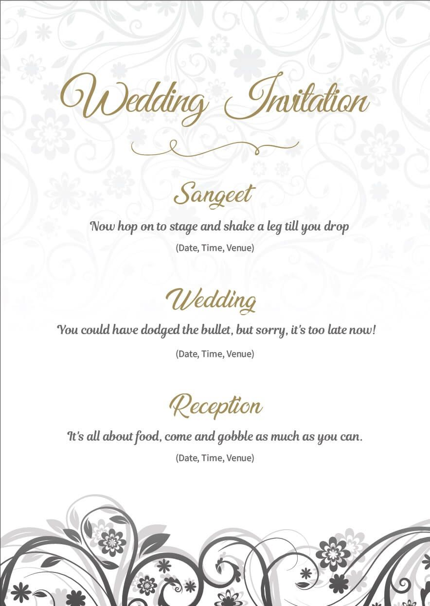 Wedding Invitation Wordings For Friends, Invite Quotes & Mes in