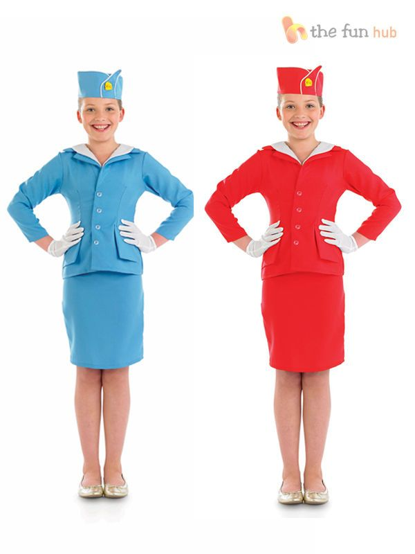 Girls Air Hostess Flight Attendant Costume Cabin Crew Childrens Kids