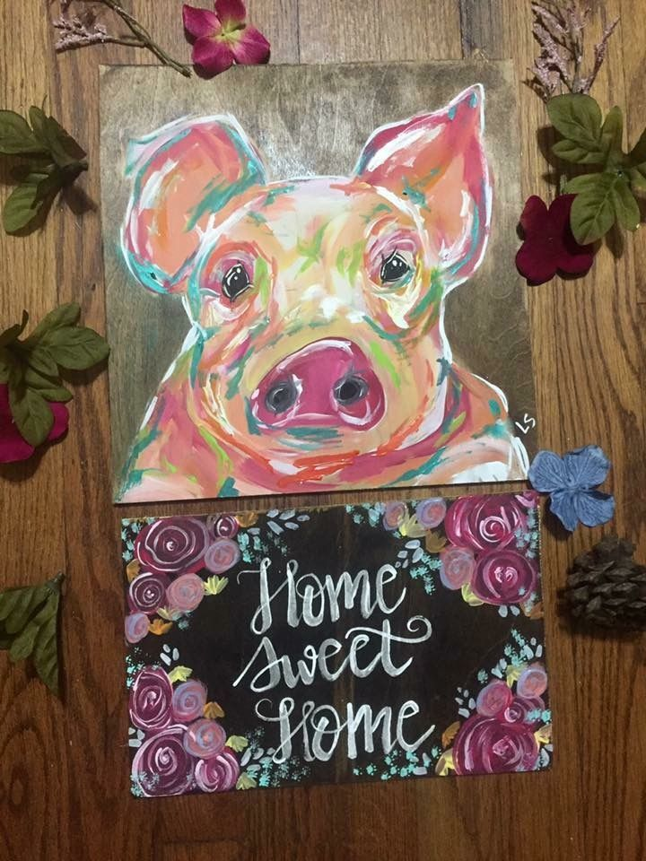 Acrylic pig painting farmhouse more artwork on facebook