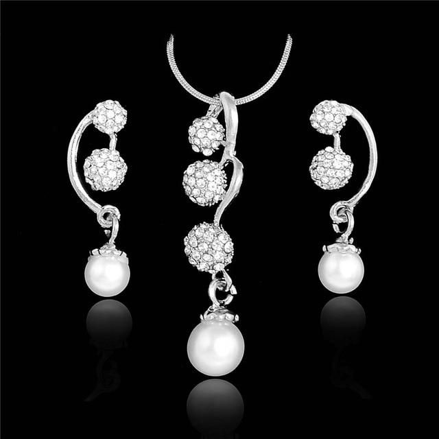 SHUANGR Wedding Jewelry Sets Full Crystal Ball Inlaid Rhinestones Imitation Pearl Earring/ Necklace Jewelry parure bijoux femme