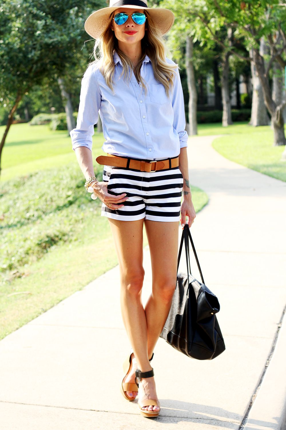 Gap Black & White Stripe Shorts, Blue Shirt, Floppy Hat ...
