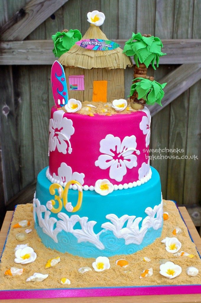 Astonishing Luau Tiered Cake With Images Hawaii Cake Luau Cakes Funny Birthday Cards Online Elaedamsfinfo