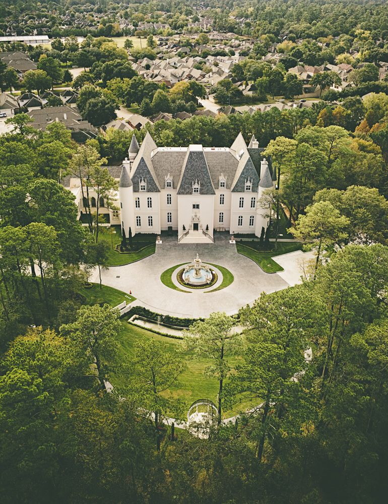 Aerial shot of the castle wedding venues