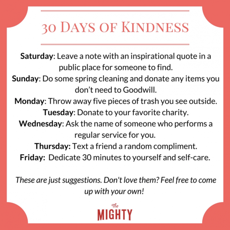30 Days of Kindness. Saturday Donate canned goods to a