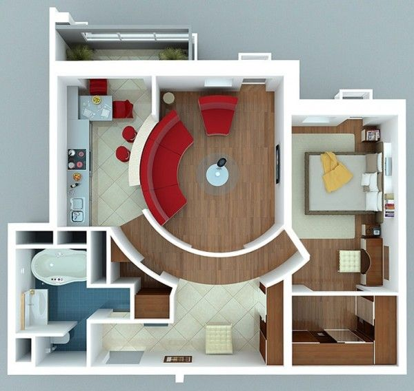 50 Plans en 3D du0027appartement avec 1 chambres Apartments, 3d and Room - plan maison d gratuit