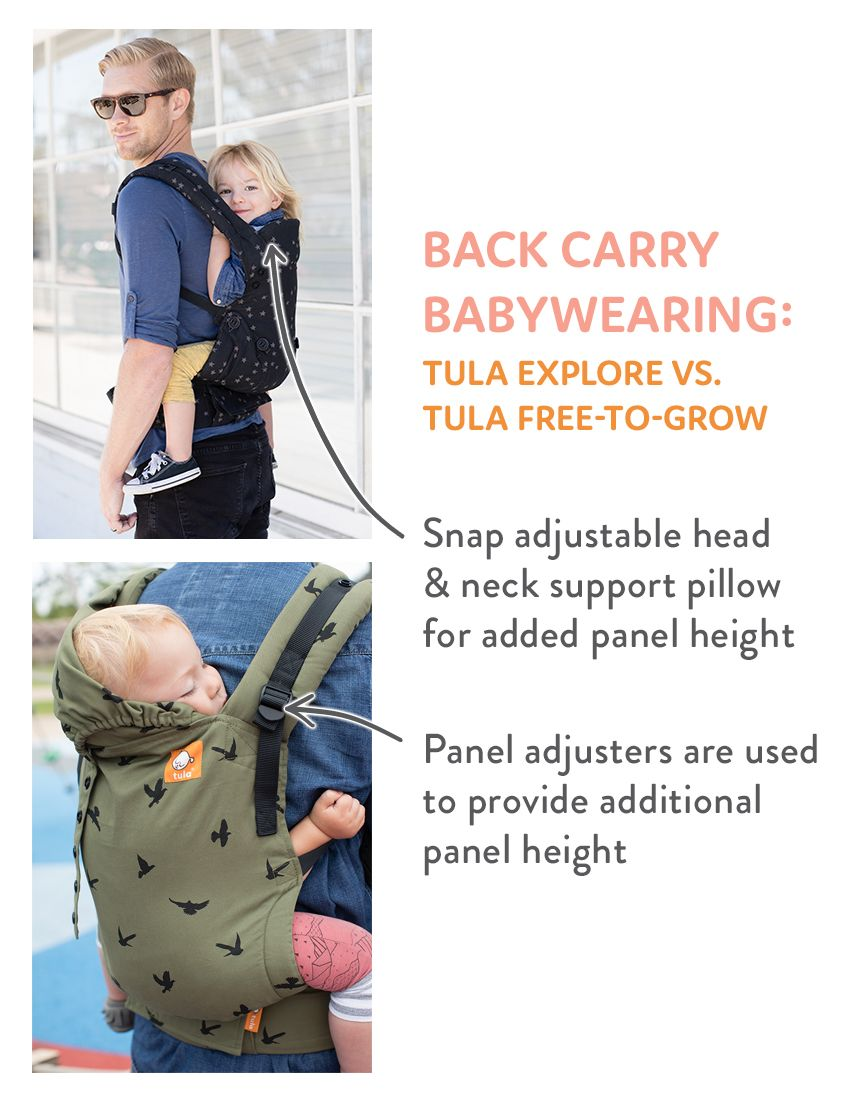 37867fd8f07 Back Carry Babywearing - Tula Explore Baby Carrier and Tula Free-to-Grow  Baby Carrier