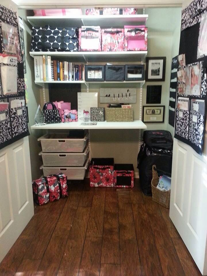 Reorganize Unused Closets And Small Es Cute Office E In A Closet Decorated With Thirty One