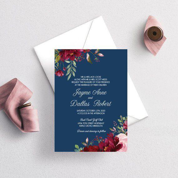 Wedding Invitations Navy And Burgundy Flowers Botanical