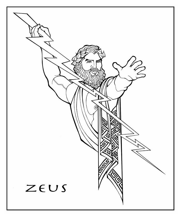 Zeus Coloring Greek Mythology Art Greece Art Greek Gods