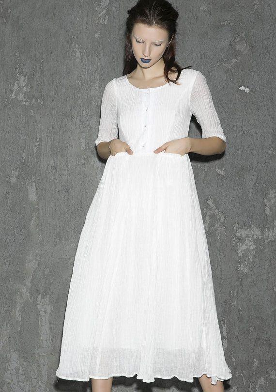 White linen dress maxi dress women dress long prom by xiaolizi