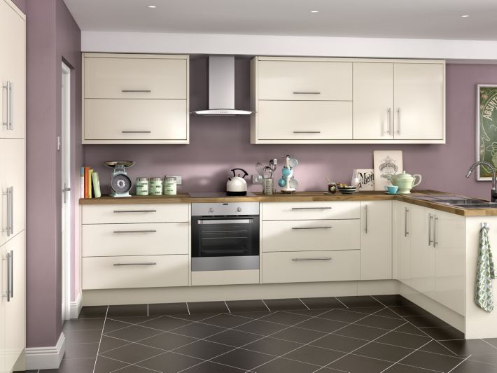 Orlando cream hi gloss kitchen kitchen for Small fitted kitchen ideas