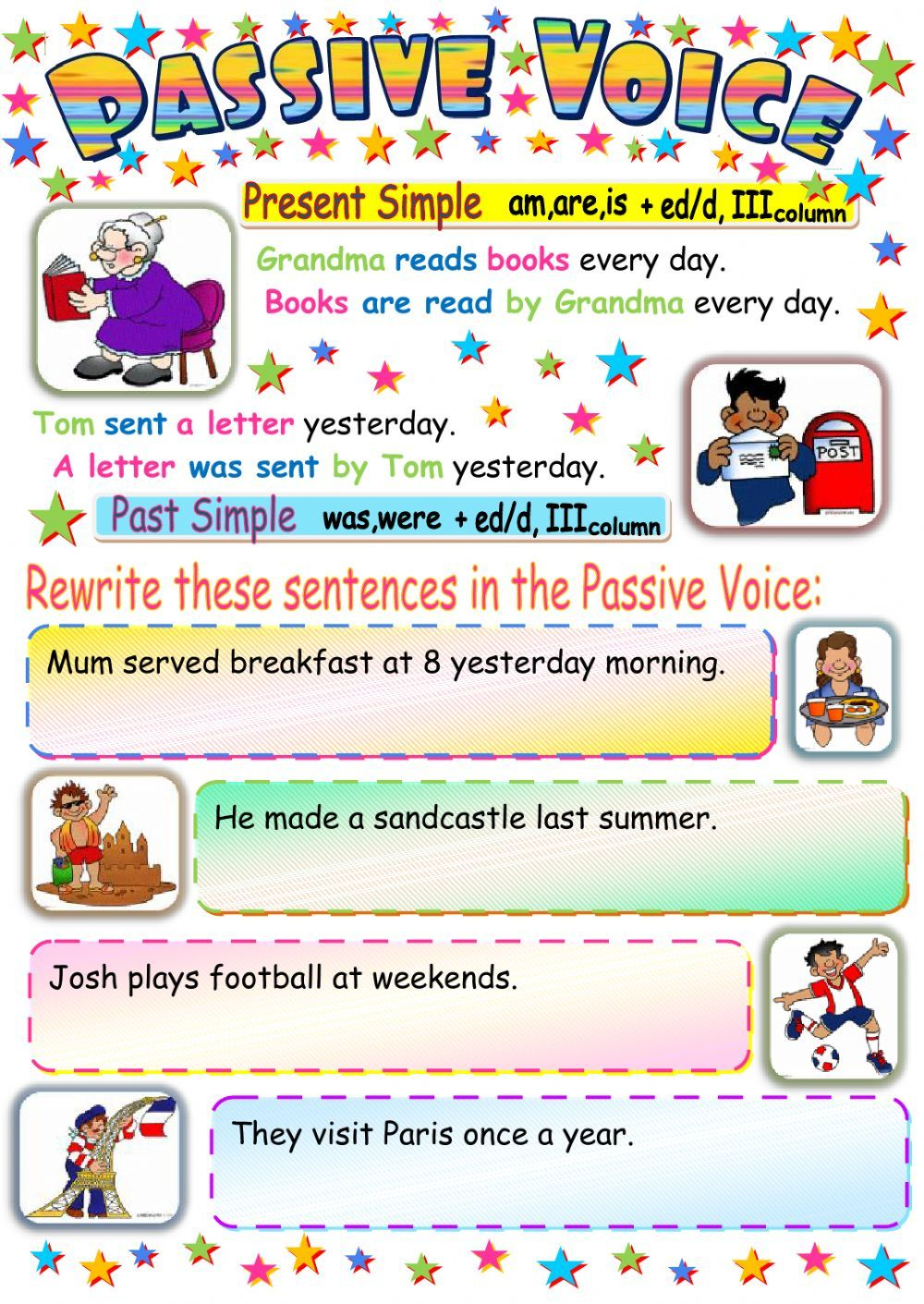 Printable Math Worksheets Passive Voice Present And Past Simple  Interactive Worksheet  Rounding Worksheets For 2nd Grade Excel with Division With Remainders Worksheet Passive Voice Present And Past Simple  Interactive Worksheet Eslgrammar Worksheetspresents Finding Area And Perimeter Of Irregular Shapes Worksheets Pdf