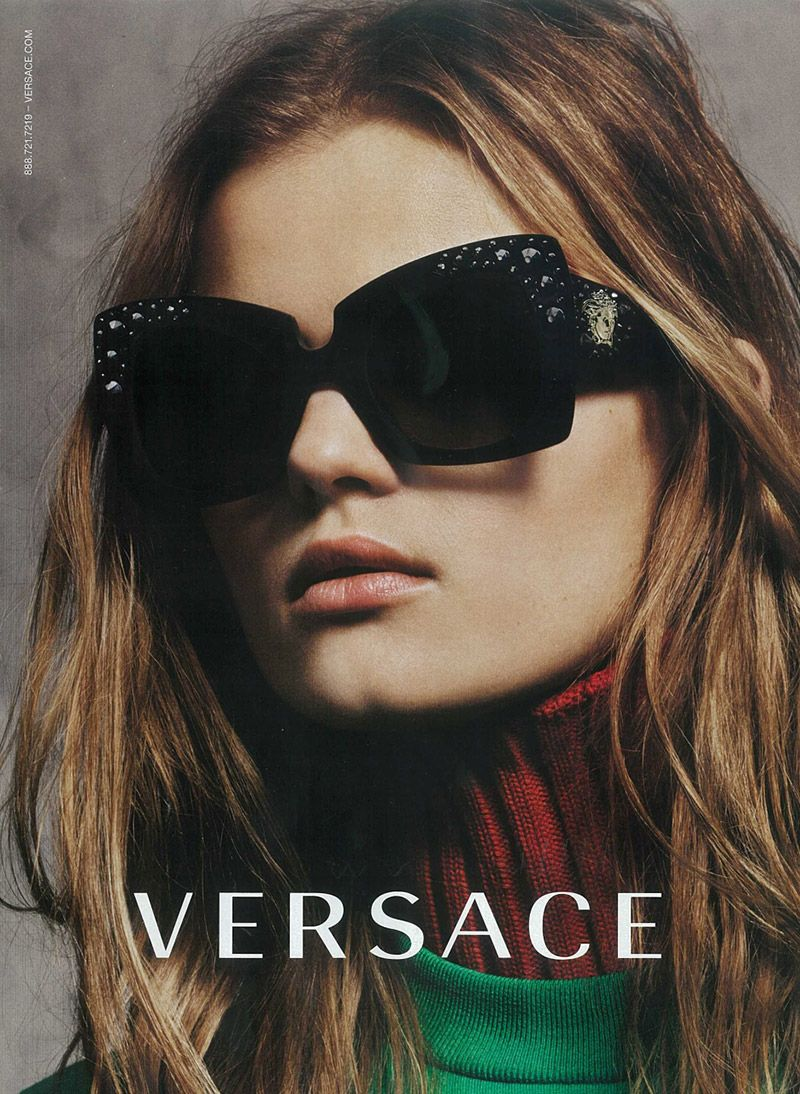 versace eyewear  Kate Grigorieva Gets Her Closeup in Versace Fall \u002715 Eyewear Ad ...