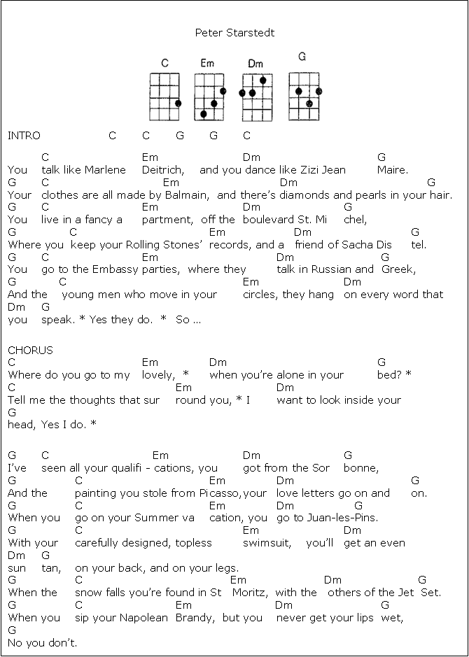 Where Do You Go To My Lovely Uke Chords And Lyrics Music 4 In