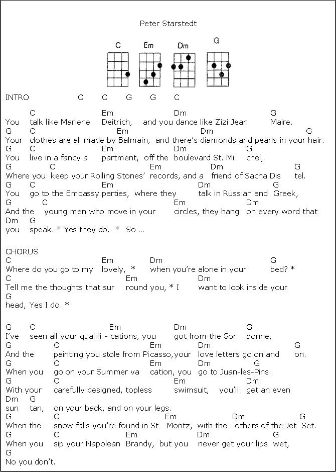 Where Do You Go To My Lovely Uke Chords And Lyrics Music 4