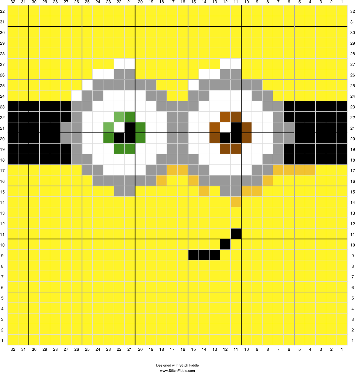 Minion Bob Face Designed By Suzy Walkling Stitch Fiddle