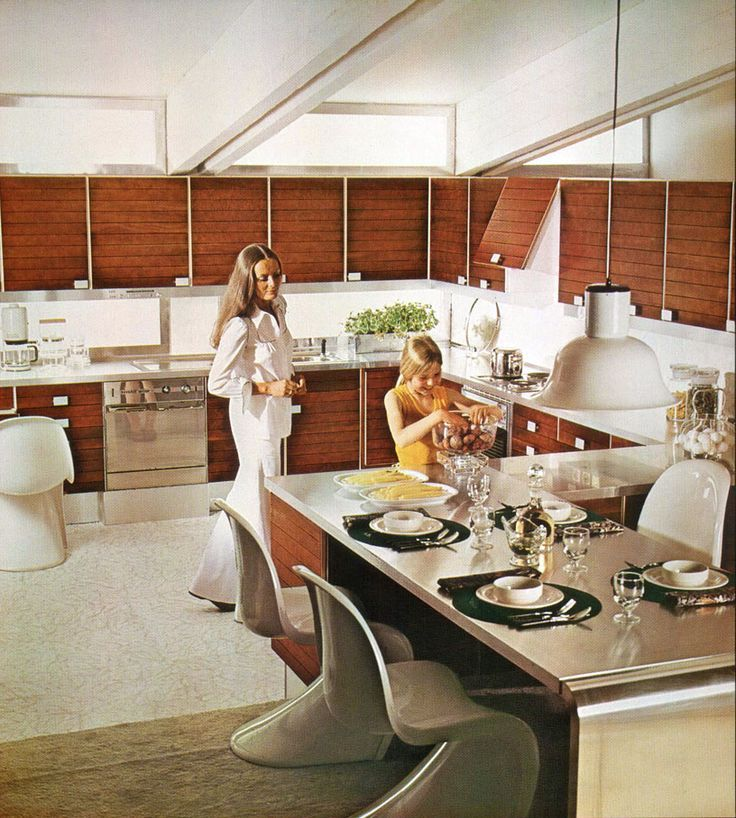 vintage high tech home | mid-70s high tech kitchen, wood, steel ...
